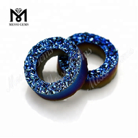 Wholesale Blue Color Tyre Shape Natural Druzy Agate Stone