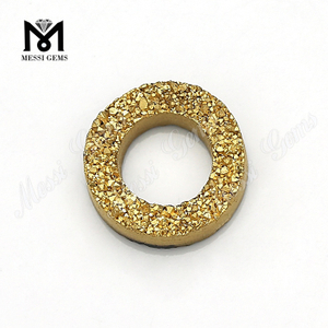 Wuzhou Factory Tire Shape 24K Gold Color Natural Druzy Stone