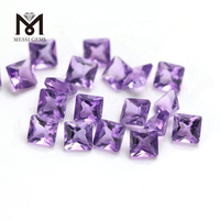 3x3mm small princess cut amethyst quartz synthetic stone