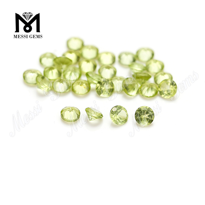 China round machine cut 3.25mm natural loose peridot stones