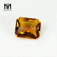 wholesale synthetic amber stone octagon amber color glass stone