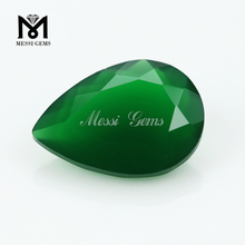 Loose Pear Machine Cut Natural Deep Green Agate Gemstone Price