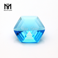 Factory cheap price hexagon shape ocean blue glass gemstone