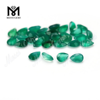 Natural agate factory price pear shape green agate stone for ring