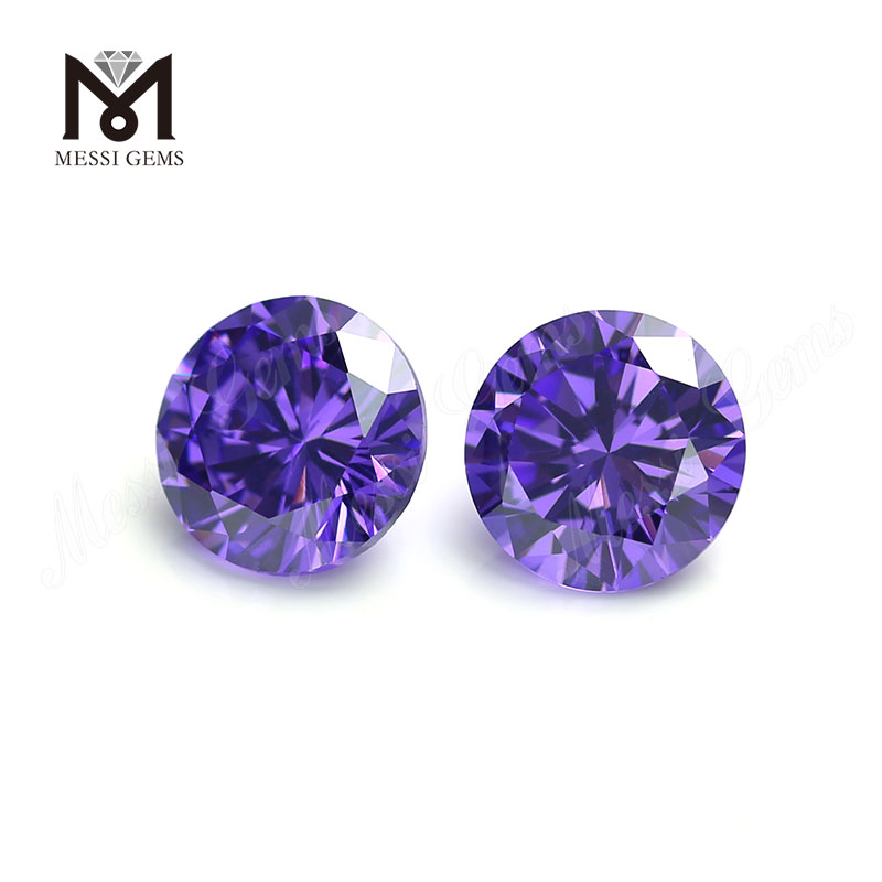 Wuzhou Factory Round Cut Lab Created Violet Color CZ Stones