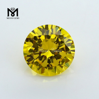 Golden Yellow Top Shining Round Diamond Cut Synthetic Cubic Zirconia Gemstone