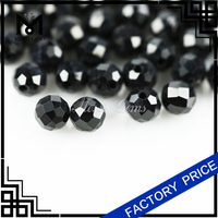 small size ball shape with hole 4mm black natural spinel