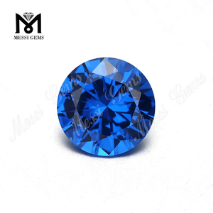 Big size 15mm round machine cut synthetic blue nano stone