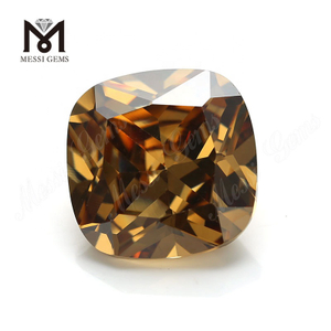 Loose Light Brown Cushion 12*12mm CZ Cubic Zirconia Stones Prices