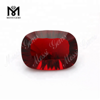 Wuzhou Factory Price Lapidary Art Cushion Concave Cut Red Color Glass Stones