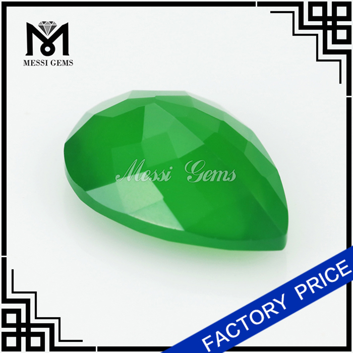 Factory Cutting Rought Natural Emerald Green Agate Stone