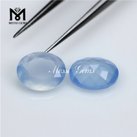 Wholesale Faceted Agate Beads Oval 8x10mm Blue Chalcedony Agate Stone