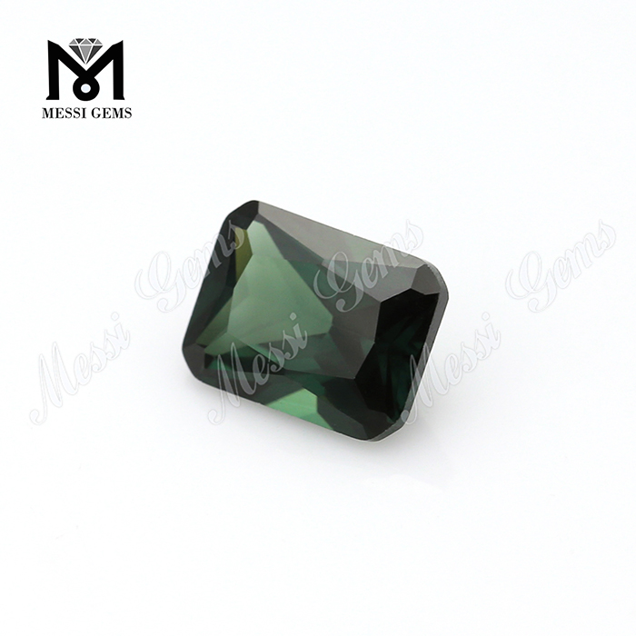 Heat resistant loose green spinel synthetic emerald cut spinel stones