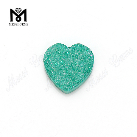 Synthetic 12x12mm heart shape aqua natural druzy agate stone