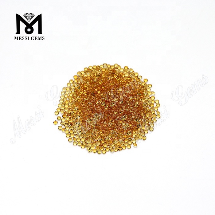 factory1.75mm round small machine cut natural bulk citrine gemstones