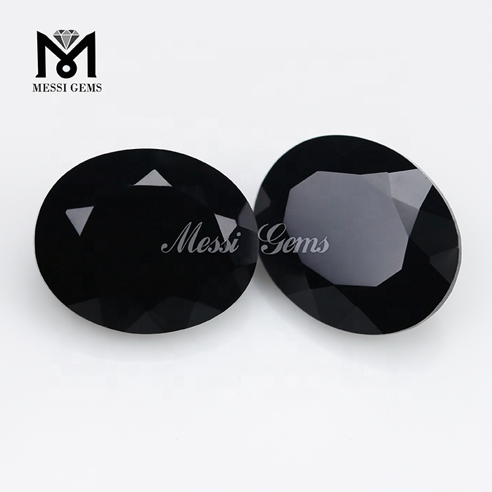 7x9mm China Oval Cut Black Color Glass Stone Gems