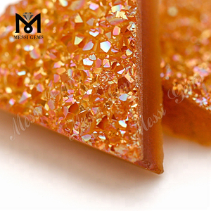 Loose Triangle 12*12mm Amber Color Natural Druzy Agate Gemstones