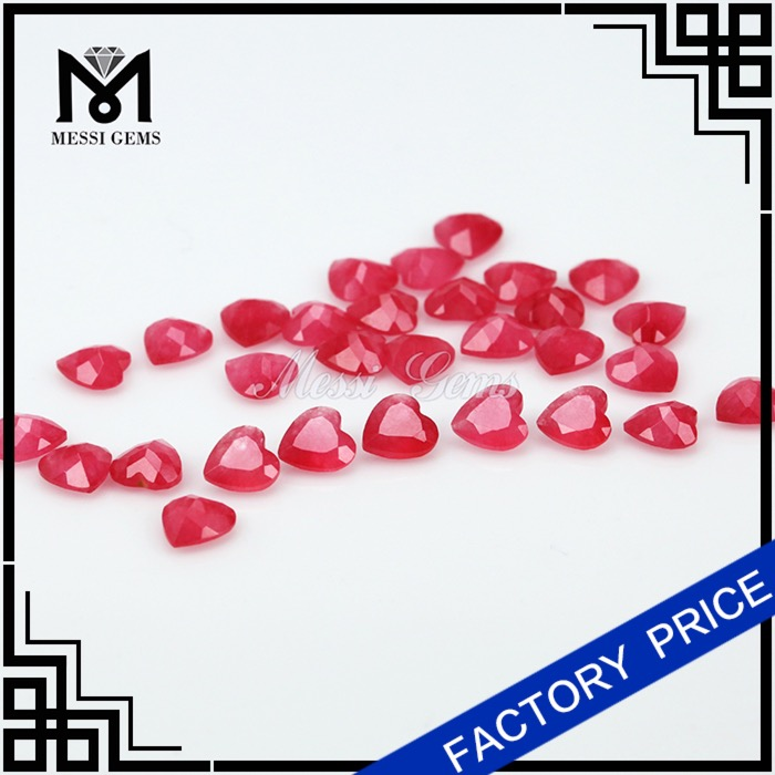 Natural Stone Malay Jade 6x6MM Heart Shape Red Jade