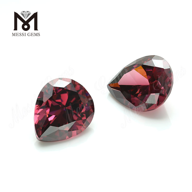 High Quality Machine Cut Pear 6x9 Rhodolite CZ Cubic Zirconia Stone