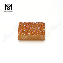 Wholesale Amber Color Agate Stone Baguette Plated Druzy Stone