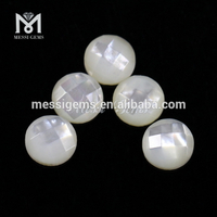Round Facet 6 mm Natural Mother Of Pearl Shell