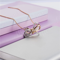2019 Fashion jewelry 14k 18k rose gold moissanite bow clavicle necklace