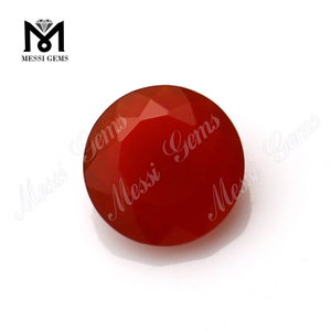 China wholesale round cut red natural agate stone