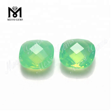Hot sale Cushion Double Faceted 10 *10mm Green Glass Stone