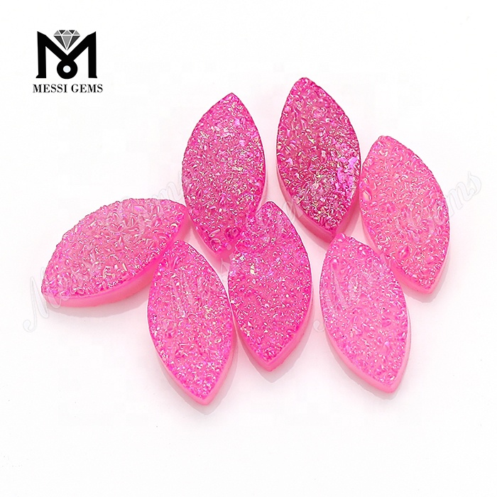 Wholesale Pink Color Marquise Natural Agate Druzy Beads