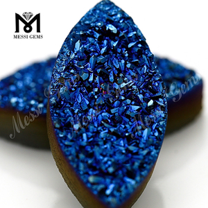 Wholesale druzy cabochon marquise cut agate blue druzy for ring