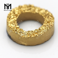 24k gold color machine cut natural gemstone druzy agate