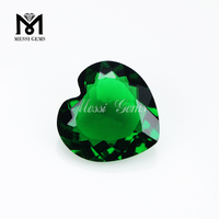 wholesale heart faceted stone emerald green glass
