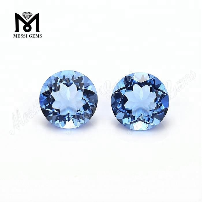 Round 10mm hydrothermal blue quartz stone
