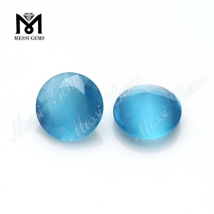 Loose Gemstone Round 9.0mm Glass Stones Cats Eye Stone