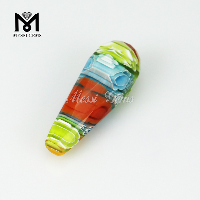 drop shapes with different colors Murano frost bead Millefiorie