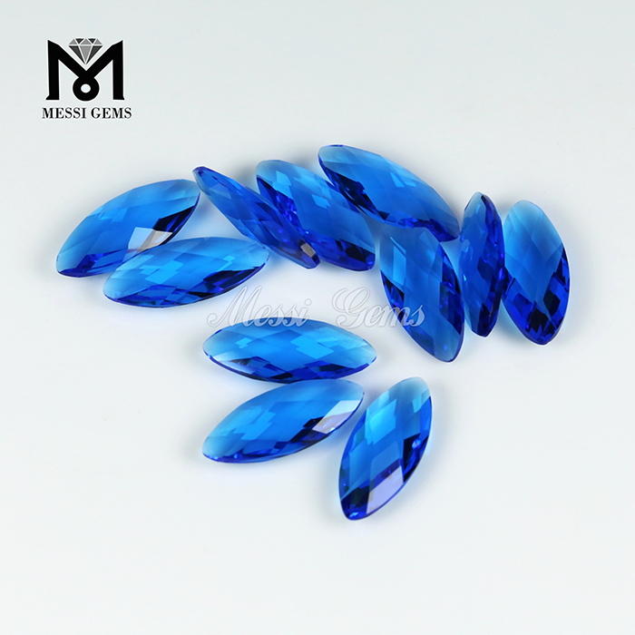 Marquise Cut Double Briolette 8 x19mm Blue Topaz Glass Bead for Jewelry Making