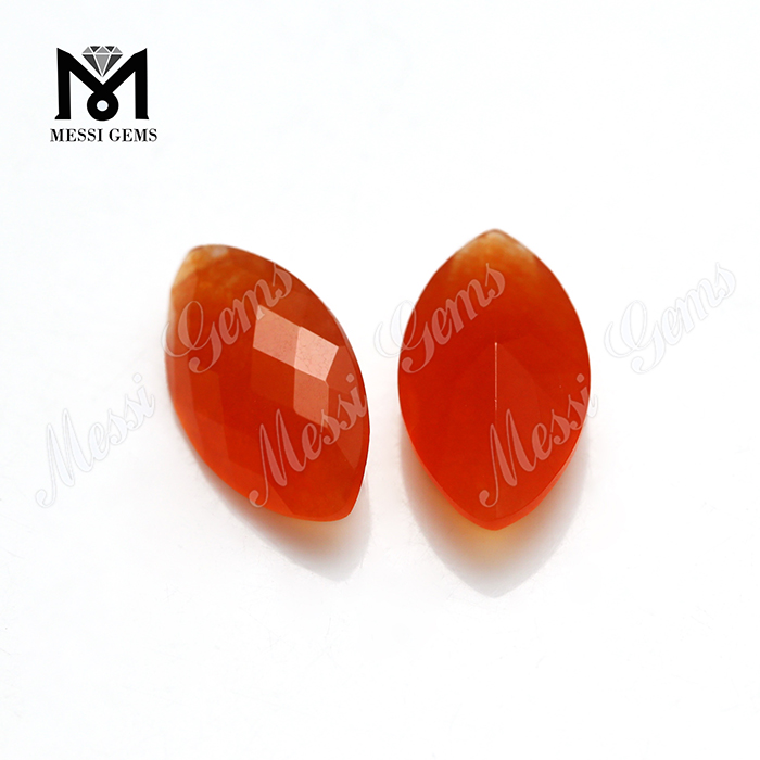 malaysian red jade stones in faceted marquise shape