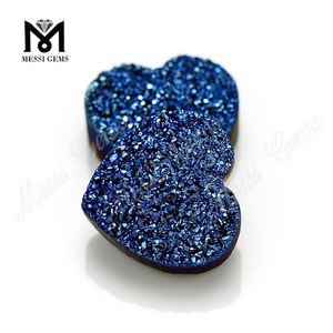 Natural Druzy Heart Shape 12x12mm Blue Druzy Agate Stone Loose