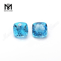 Flower Cut Blue Topaz Cushion 11*11mm Natural Loose Gemstones