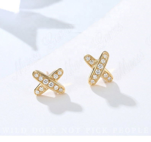 X shape cheap 14K 18K white gold yellow gold rose gold moissanite earring