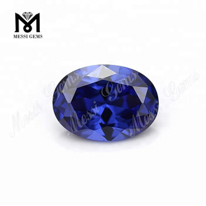 Factory Price Top Machine Cut Oval 8 x 10 mm Tanzanite Color Cubic Zirconia Loose Gemstone