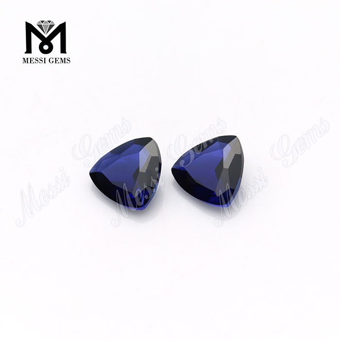 Wuzhou Factory Trillion Cut 11x11mm Synthetic Blue Corundum Ruby Stone