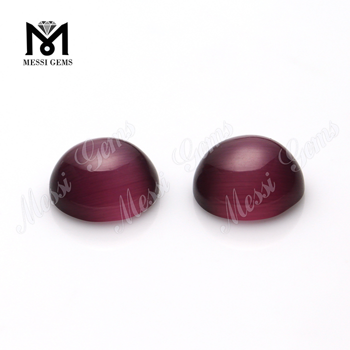 12 mm round machine cut cabochon rhodolite synthetic cat's eye glass stone