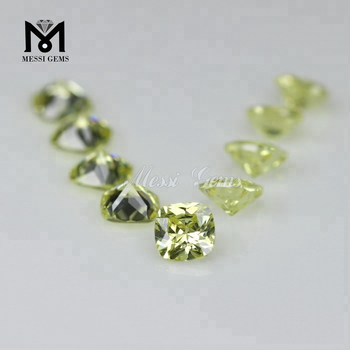 Stock factory price 4x4 mm cushion cut peridot loose cubic zirconia stone