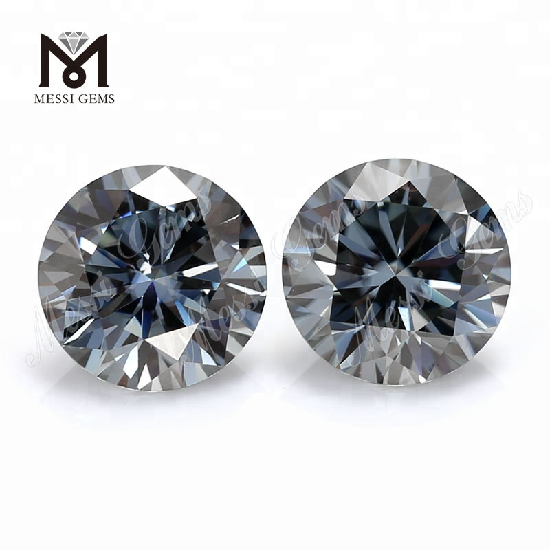 synthetic 1.0 carat stones round grey color moissanites