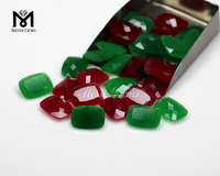 Cushion 15 x 20 mm Faceted Green / Red Quartz Jade Loose Gemstone