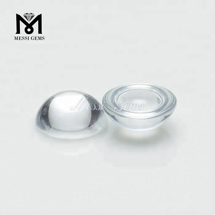 Loose Gemstone Round 9mm Cabochon Clear White Glass Stone