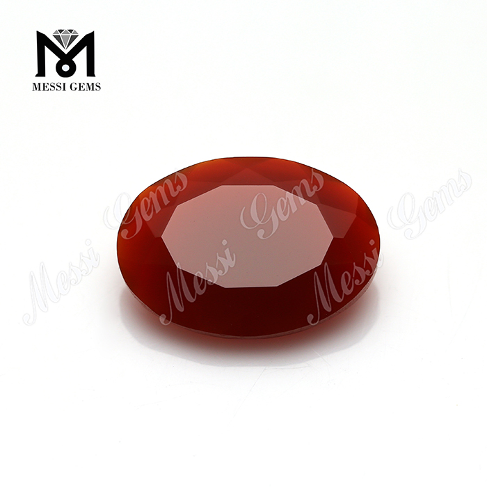faceted oval cut natural red agate size 13*18mm