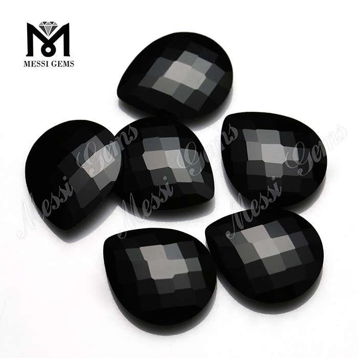pear checker cut gemstones natural black jade stones for sale
