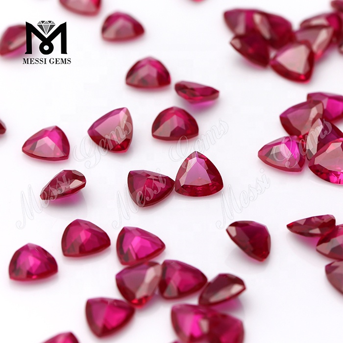 Wuzhou Wholesale Trillion Cut Synthetic Corundum 5 Ruby Stones